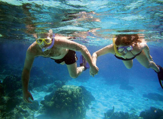 The crystal clear water offers fun for the whole family.