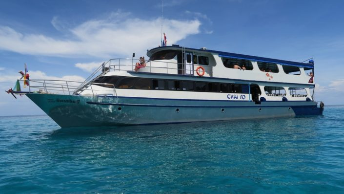 Bigger day trip boats offer a comfortable and safe trip to the Similan Islands.